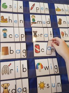 Dollar Deals for Your Classroom Medial Vowel Sounds Pocket Chart Center Vowel Activities, Word Family Activities, Alphabet Activities, Reading Activities, Literacy Activities, Jolly Phonics, Phonics Rules, Alphabet Phonics, Alphabet Crafts