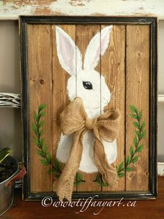 Easter bunny, Easter decorations, Easter wood sign,Easter bunny wood sign,hand painted sign,Easter door decor,rustic easter sign,spring sign easter bunny with jute bow rustic wood sign Acrylic on wood panel Width: 17 Height: 21 Thickness: 3/4 rustic wood frame included • 100%