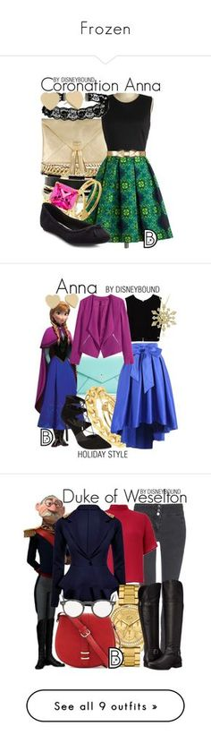 """""""Frozen"""" by leslieakay ❤ liked on Polyvore featuring disney, disneybound, disneycharacter, GUESS, Gorjana, Marni, ASOS, Kate Bissett, Kate Spade and Adele Marie"""