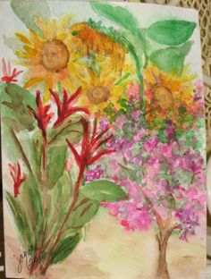 My backyard - A Handpainted Original Watercolor Painting Greeting Card by joyceweaver, $6.50