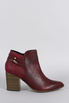 Qupid Reptile Textured Pointy Toe Ankle Bootie