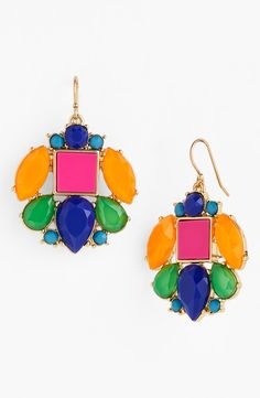 Yes, to this pop of color! Love the brightly colored stones on these Kate Spade 'metropolis mosaic' drop earrings.