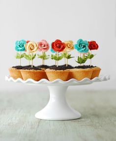 These Flower Pot Cookies are perfect for spring! The bright colors pop and the easy recipe makes them a fun party idea. With sugar cookie cups, chocolate ganache, and Oreo dirt, they are as good to eat as they cute to look at. Köstliche Desserts, Dessert Recipes, Easter Desserts, Plated Desserts, Cake Pops, Cake Cookies, Cupcake Cakes, Mini Cookies, Cup Cakes