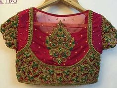 15 Latest Heavy Designer Saree Blouse Designs Heavy designer blouses are appropriate when you are going for a party, wedding or major function. This heavy designer blouses can be paired with sarees or lehengas. Here in this post, we are talkin… Cutwork Blouse Designs, Best Blouse Designs, Silk Saree Blouse Designs, Bridal Blouse Designs, Blouse Neck Designs, Blouse Patterns, Sari Blouse, South Indian Blouse Designs, Aari Work Blouse