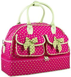 86c3fb27cddf Pink and Green Polka Dot Bowling Style Travel Duffle Bag  Private............DIAPER BAG FOR THREE KIDS