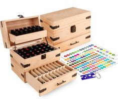 Amazing offer on Wooden Essential Oil Multi-Tray Organizer - Holds 74 Oils - Finished - Includes Essential Oil Sticker Labels & Bottle Top Removal Tool online - Findanew Essential Oil Storage Box, Essential Oil Box, Essential Oil Bottles, Cheap Office Supplies, Art Supplies, Bottle Top, Display Shelves, Display Case, Organizer