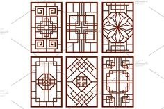 Traditional korean door and window ornament, chinese wall design, japan frames vector set by MicroOne on @creativemarket