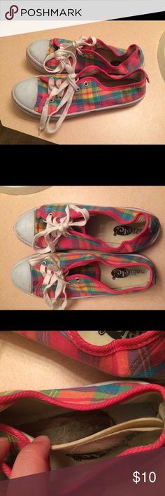 """(10) Rue 21 Rainbow Plaid Sneakers I purchased these off of someone who listed these as """"very good condition"""" and hid all the flaws. They're dirty, and smell. The shoe lining needs to be glued down. The soles are peeling. Not good for someone with wide feet. Rue 21 Shoes Sneakers"""
