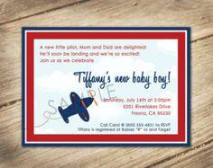 aviator themed baby shower | Baby Aviator / Airplane Theme - Baby Shower Invitation