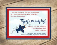 aviator themed baby shower | Baby Aviator / Airplane Theme - Baby Shower Invitation