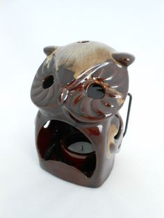 Owl Candle Lantern  Owl Candle Holder  Brown by My3LuvBugsVintage
