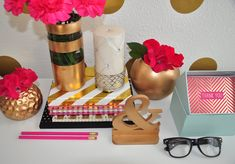 FOXY OXIE Preview Glam Home // Kate Spade decor neon nesting boxes // glam office decor ideas // fashion blogger office // gold white and pink decor // room inspiration // office tour