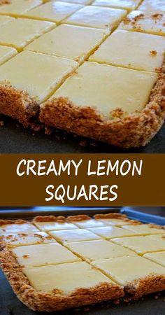 CREAMY LEMON SQUARES Lemon Dessert Recipes, Lemon Recipes, Cheesecake Recipes, Easy Desserts, Sweet Recipes, Baking Recipes, Cookie Recipes, Delicious Desserts, Bar Recipes
