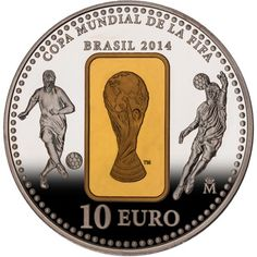 ESPAÑA. MONEDA 10 EUROS. MUNDIAL BRASIL 2014. PLATA