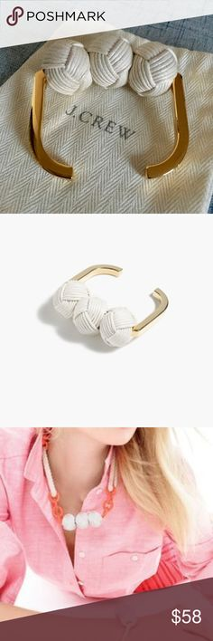 "Rare Knotted Cuff Bracelet NWOT. Never worn. Bought a few years ago. So darn cute but never worn b/c cuffs tend to fall off my small wrists. Details: Width: 1"". Inner diameter: 2 3/8"" x 1 7/8"". Brass, cotton cord. Shiny 14k gold plating. Jewelry Design © 2014 J.Crew International, Inc. Due to the nature of some materials in this item, contact with darker fabrics may result in color transfer, so we recommend wearing (and storing) it with lighter colored items. J. Crew Jewelry Bracelets"