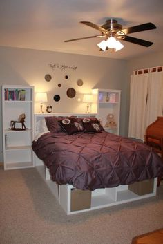 Full Size Storage Bed | Do It Yourself Home Projects from Ana White.....would be sooo pretty in purple (deep plum shade)...OR your basic black Full Size Storage Bed, Diy Storage Bed, Bedroom Storage, Bedroom Decor, Bedroom Ideas, Cube Storage, Craft Storage, Headboard Ideas, Hidden Storage