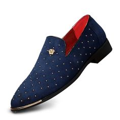 Men's Loafers & Slip-Ons Dress Shoes Drive Shoes Business Classic Wedding Daily Party & Evening Walking Shoes PU Wear Proof Black Blue Spring Fall / Beading 2021 - US $27.53 Oxfords, Loafer Shoes, Loafers Men, Men's Shoes, Casual Loafers, Casual Shoes, Gold Dress Shoes, Cheap Mens Shoes, Mens Slip Ons