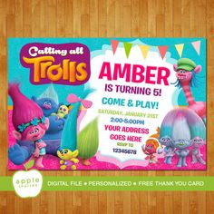 Trolls Invitation Trolls Party Trolls Birthday by AppleInvites