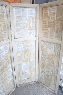 What a great idea for a privacy screen or backdrop!  Use three old doors, hinge them together and then cover them with old pages from books, hymn books, scrapbooking paper or wrapping paper.   check ReHouse for doors to make this happen!  (By: Common Ground: Pumpkin Filled Goat Cart)