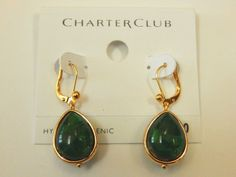 CHARTER CLUB Cabochon Green Stone Drop Earrings NEW #CharterClub #DropDangle