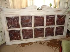 Headboard W/Metal Ceiling Tiles  @Tara Loftis  UM I think I know where to find some!