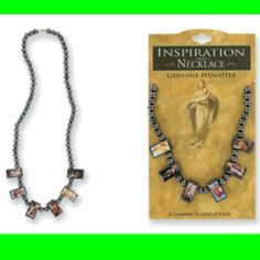 Wholesale Spiritual Jewelry - Inspiration Necklace w/ Holy Saints & Genuine Hematite Beads  *** ONLY $0.65 EACH ***