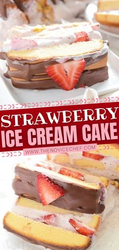 Toss together this sweet treat in just 10 minutes! This recipe is easy to make with store-bought pound cake and strawberry ice cream. Finished off with fresh strawberries and a chocolate shell… More Strawberry Ice Cream Cake, Strawberry Desserts, Frozen Desserts, Frozen Treats, Easy Desserts, Delicious Desserts, Homemade Ice Cream, Homemade Chocolate, Chocolate Recipes