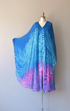 EFF YEAH CAFTAN Hanae Mori dress vintage 1970s silk dress 70s by DearGolden