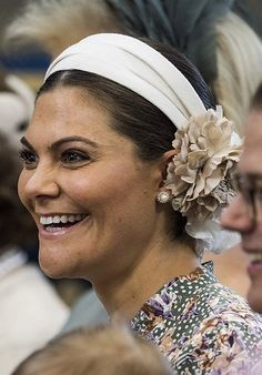 Christening of Princess Adrienne: Immediate Families Princess Victoria Of Sweden, Crown Princess Victoria, Royal Crowns, Queen Silvia, Female Head, Swedish Royals, Christening, Headpiece, Pure Products