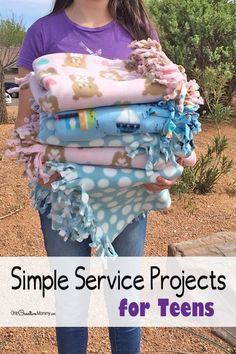 Simple service projects for teens to try today! Make these easy fleece blankets. {OneCreativeMommy.com} Step-by-step tutorial | Community service ideas