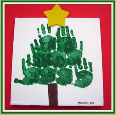 hand print tree by connie Handprint Christmas Tree, Christmas Crafts For Toddlers, Toddler Christmas, Kids Christmas, Holiday Crafts, Crafts For Kids, Christmas Stuff, Hand Print Tree, Handprint Art