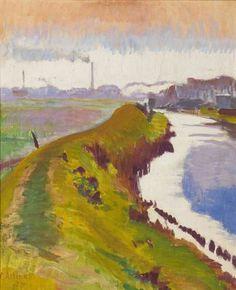 Jan Altink, Dijk langs het Reitdiep, Gr., 1927, was/olieverf op doek, 68 x 56.5 cm