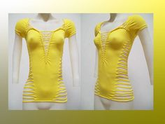 ON SALE Small Junior / Womens Shredded Yellow by SolAuraDesigns