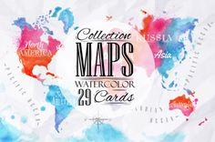 Watercolor world map by Anna Kozlenko