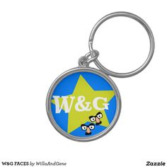 W&G FACES Silver-Colored ROUND KEYCHAIN