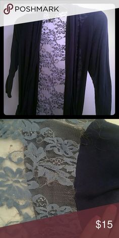 Navy blue lace cardigan Previously loved but in good contition it seems like there's some fraying of the elastic and some normal wear pictured. Half sleeve American Vintage Sweaters Cardigans