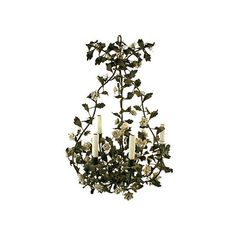 Pre-Owned Tole Chandelier w/ Porcelain Flowers ($4,275) ❤ liked on Polyvore featuring home, lighting, ceiling lights, tole chandelier, chain lighting, french chandelier, chain chandelier and chain lamp