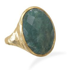 Faceted Cut Emerald Ring Oval Bezel Set  14kt by jackjewelryinc