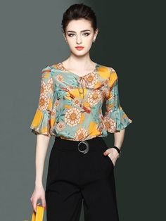 Lace-Up Floral Print Bell Sleeve Women's Blouse