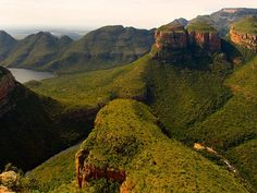 The Blyde River Canyon Nature Reserve, Mpumalanga, South Africa. The Three Rondavels are on the right. Africa Safari Lodge, Canon, Nature Reserve, Photo Reference, Places To Go, Tours, River, Game Lodge, Wanderlust