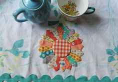 tea towel made from vintage tablecloth by Mary @ Molly Flanders, via Flickr