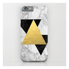 Marble Tri Black & Gold - Gold Foil, Gold, Marble,… iPhone & iPod Case (850 CZK) ❤ liked on Polyvore featuring accessories, tech accessories and iphone & ipod cases