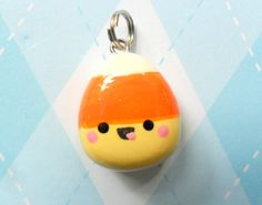 Kawaii Candy Corn Charm Polymer Clay Fall Halloween. $5.00, via Etsy.