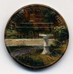 Artist Jacqueline Lou Skaggs creates tiny oil paintings on old pennies.  These are amazing!
