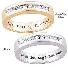 Sterling Silver or Gold-over-Sterling Silver 'With This Ring I Thee Wed' Engraved Pave-set CZ Wedding Band (size 9 gold over silver), Women's, Yellow Wedding Ring Guide, Cz Wedding Bands, Wedding Ring For Him, Wedding Rings Online, Cheap Wedding Rings, Wedding Band Engraving, Promise Rings For Couples, Cubic Zirconia Rings, 18k Gold