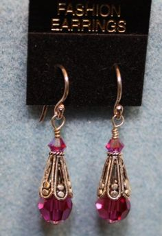 Pink and Silver Dangle Earrings on Handmade Artists' Shop