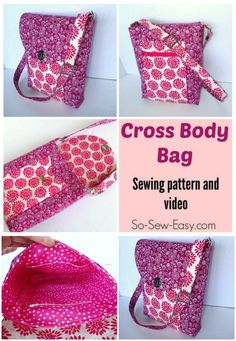 Carry everything you need and stay hands free with this handy Cross Body Bag pattern. Go fancy with smart hardware and adjustable strap, or keep it simple without these optional extras. Bag Patterns To Sew, Sewing Patterns, Backpack Pattern, Tote Pattern, Fabric Bags, Fabric Basket, Sewing Projects For Beginners, Sewing Crafts, Sewing Tips