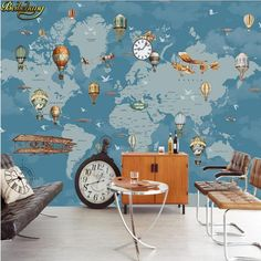 Cartoon Sea Ocean World Map Nursery Wallpaper Wall Mural, World Map Cartoon Seagulls Hot Air Balloon Kid Children Room Wall Mural Wall Decor Map Nursery, Nursery Wall Murals, Nursery Wallpaper, Balloon Wall, Balloons, Air Balloon, Hot Air Ballon Nursery, World Map Wallpaper, Map Background