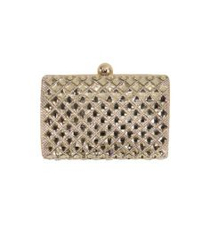 """Gold and crystals combine here for a totally luxe clutch. One side is covered with shiny rhinestone sparkles, while the other shows off totally glam gold fabric. We love the high impact of this clutch; pair with a black dress and some heels and you're set!   Approx. 6"""" L X 4"""" H X 3"""" D  Glass Crystal  With removable chain strap  Imported"""