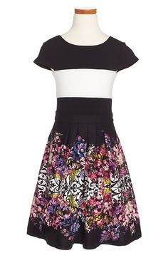 Fiveloaves Twofish 'Kate' Stripe & Floral Print Dress (Big Girls) available at #Nordstrom